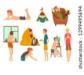 people spending weekend at home ... | Shutterstock .eps vector #1299495694