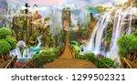 fantasy landscape. fairyland ... | Shutterstock . vector #1299502321