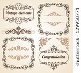 set of vintage ornate frames... | Shutterstock .eps vector #129950771