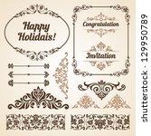 set of vintage ornate frames... | Shutterstock .eps vector #129950789