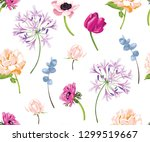 vector botanical seamless... | Shutterstock .eps vector #1299519667