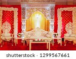 white couch for wedding couple... | Shutterstock . vector #1299567661