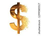 fractured gold dollar value... | Shutterstock . vector #1299585517