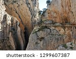 hikers with helmets on the... | Shutterstock . vector #1299607387