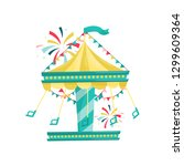 swinging carousel with chairs... | Shutterstock .eps vector #1299609364