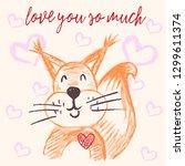 cute illustration  postcard.... | Shutterstock .eps vector #1299611374