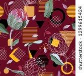 modern memphis floral pattern...   Shutterstock .eps vector #1299615424