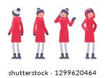 stylish woman in a long red... | Shutterstock .eps vector #1299620464