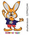 cartoon easter rabbit isolated... | Shutterstock . vector #129962144