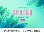 spring sale background banner... | Shutterstock .eps vector #1299635881