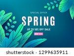 spring sale background banner... | Shutterstock .eps vector #1299635911