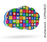 cloud computing symbol with... | Shutterstock . vector #129963815