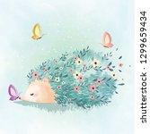 flower pattern hedgehog | Shutterstock .eps vector #1299659434