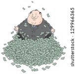 fat businessman sitting on a... | Shutterstock .eps vector #129966365