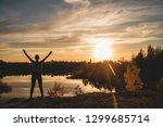 young girl stands and... | Shutterstock . vector #1299685714