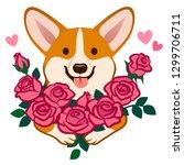 corgi dog holding a bouquet of... | Shutterstock .eps vector #1299706711