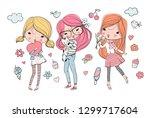 cute girls   vector | Shutterstock .eps vector #1299717604