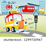 funny yellow taxi cartoon on... | Shutterstock .eps vector #1299720967
