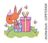 cute and little fox with... | Shutterstock .eps vector #1299725434