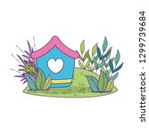 cute birdhouse wooden with... | Shutterstock .eps vector #1299739684
