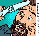 Pregnancy Test. Scared Bearded...