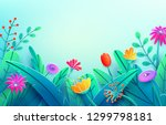 summer border with paper cut... | Shutterstock .eps vector #1299798181