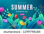 summer sale ad background with... | Shutterstock .eps vector #1299798184