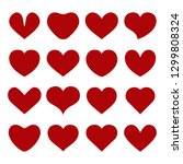 set of red hearts on white... | Shutterstock . vector #1299808324