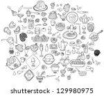 kitchen tool collection  sketch ... | Shutterstock .eps vector #129980975