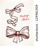 vintage bows  hand drawn set ... | Shutterstock .eps vector #129981509