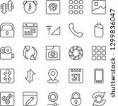 thin line icon set   mobile...