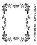 black elegant frame of roses... | Shutterstock .eps vector #1299868294