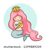 mermaid with pink long hair ... | Shutterstock .eps vector #1299889204