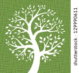 White Tree Icon On Green Canva...