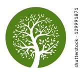 Green Tree Round Icon  Vector...