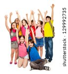 group of happy kids  boys and... | Shutterstock . vector #129992735