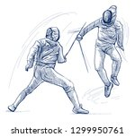 competitive fencing   two... | Shutterstock . vector #1299950761