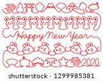 new year card with mouse and... | Shutterstock .eps vector #1299985381