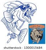 vector striped bass rockfish  | Shutterstock .eps vector #1300015684