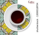 cup of coffee with colorful... | Shutterstock .eps vector #1300018954