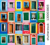 Collage Of Colorful Windows An...