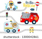 rescue vehicles cartoon with... | Shutterstock .eps vector #1300042861