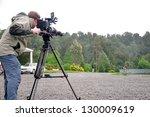 cameraman and sound recordist... | Shutterstock . vector #130009619