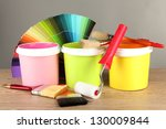 paint pots  paintbrushes and... | Shutterstock . vector #130009844