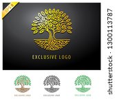 Abstract Golden Tree Logo....