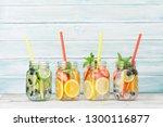 fresh lemonade jar with summer... | Shutterstock . vector #1300116877
