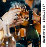 socialising with whisky | Shutterstock . vector #1300138657