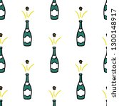champagne seamless doodle...   Shutterstock .eps vector #1300148917