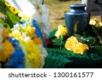 Burial Urn With Yellow Roses In ...