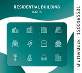 residential building icons. set ... | Shutterstock .eps vector #1300165531